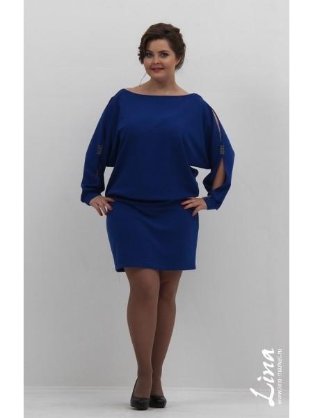 Туника-платье Летучая мышь стразы (василек)