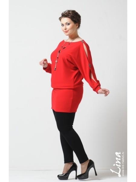 Туника-платье Летучая мышь стразы (красный)