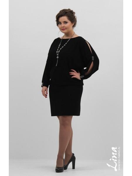 Туника-платье Летучая мышь стразы (черный)