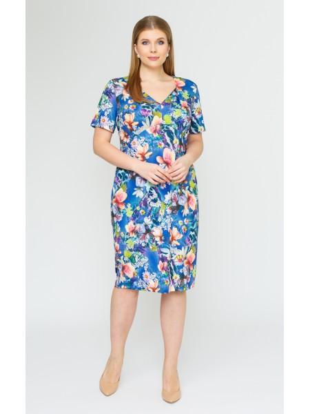 Платье Олисия-2 (цветы на синем)