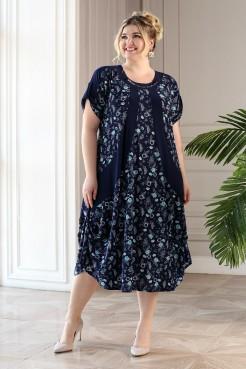 Платье Алевтина (синий/бирюза)