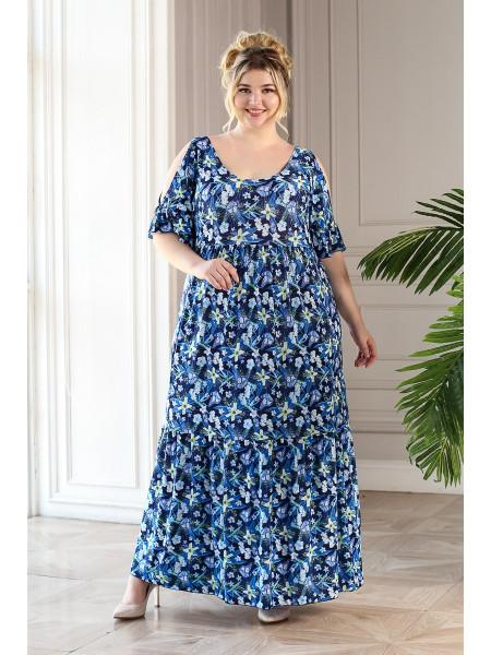 Платье Лилия (синий/мелкие цветы)