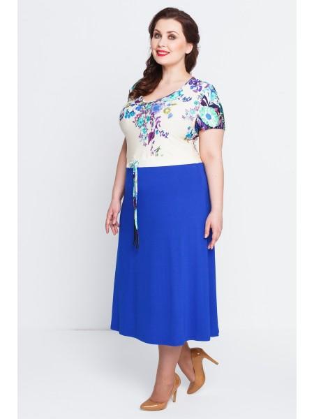 Платье Любава (цветы/василек)