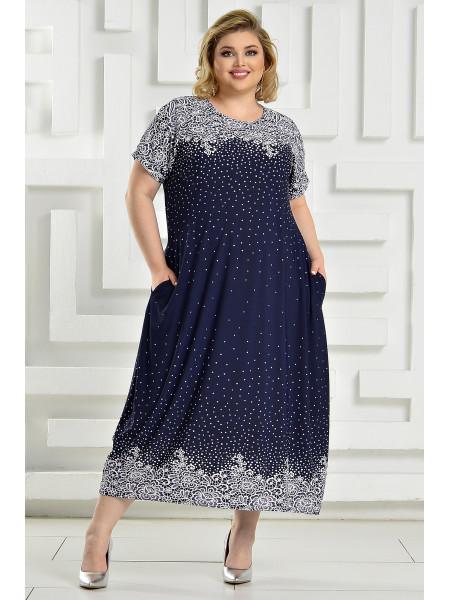 Платье Париж (синий/кружево)