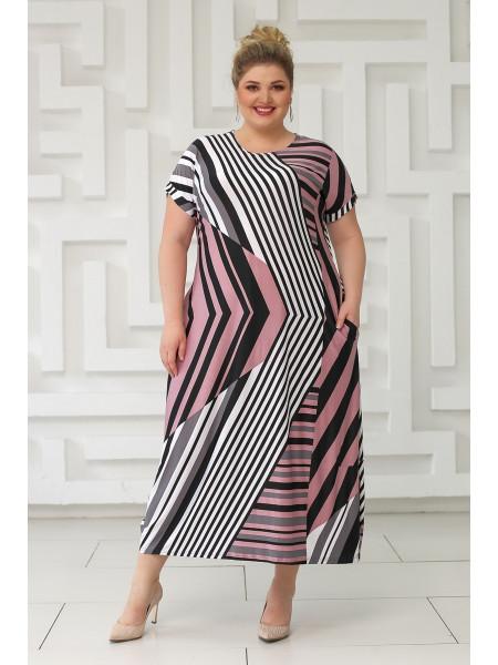 Платье Париж (полоска/розовый)