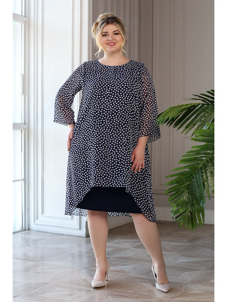 Платье Шарм синий/кубики