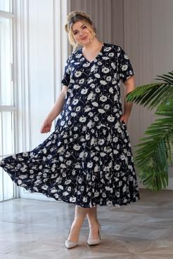 Платье Виктория (темно синий/цветы)