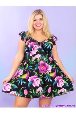 Купальное платье Бора-Бора (сиреневые цветы)