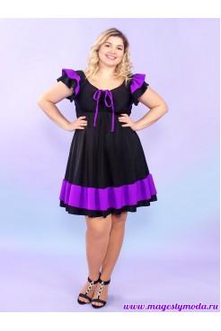 Купальное платье Карибы (черный/фиолетовый)