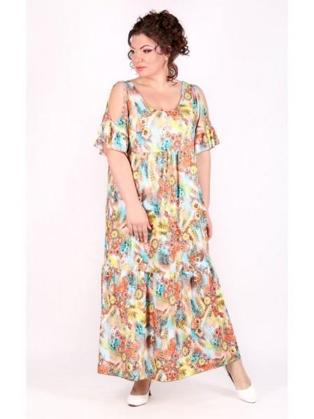 Платье Лилия (цветы/коралл)