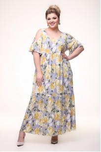 Платье Лилия (серый/желтый)
