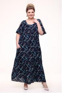 Платье Лилия (синий/бирюза)