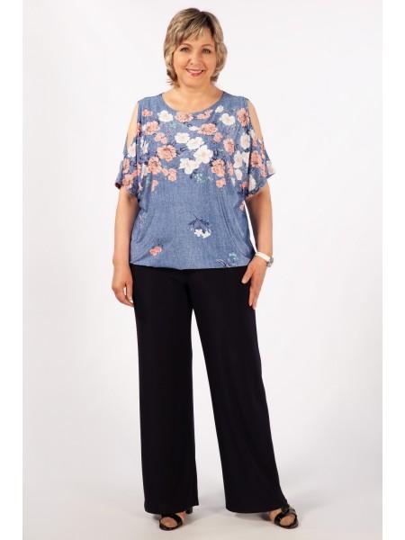 Блузка Симона (джинс/цветы)