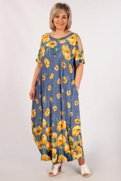 Платье Алиса (джинс/маки желтый)