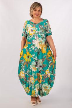 Платье Алиса (зеленый/цветы)