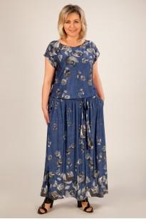 Платье Анджелина-2 (джинс/цветы серые)