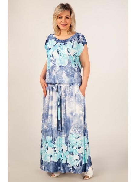 Платье Анджелина-2 (джинс/цветы голубые)
