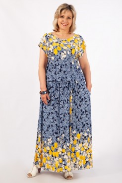 Платье Анджелина-2 (тюльпаны на синем)