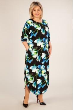 Платье Ирма (цветы голубые)