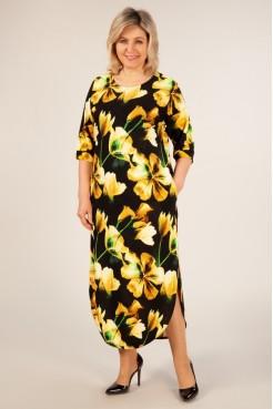 Платье Ирма (цветы желтые)