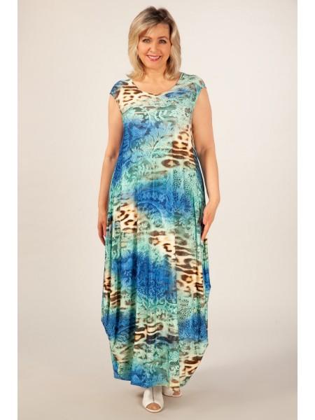 Платье Стефани (леопард сине-зеленый)