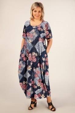 Платье Вероника (джинс/брусника)