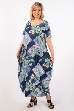 Платье Вероника-2 (джинс/зеленый)