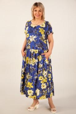 Платье Зоряна (цветы желто-серые)