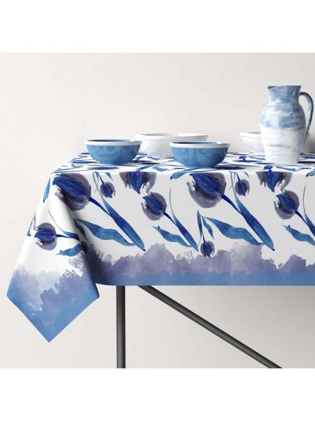 Скатерть Хлопок (Синие тюльпаны 11316)